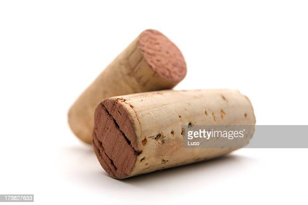 close-up of two used wine corks - wine cork stock photos and pictures