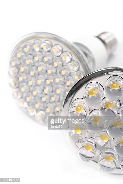 Close-up of two white round LED lights