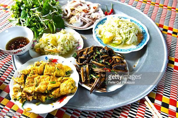 Typical family dinner at Hanoi Vietnam