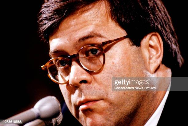 Closeup of United States Deputy Attorney General William P Barr as he testifies before the US Senate Committee on the Judiciary during his...