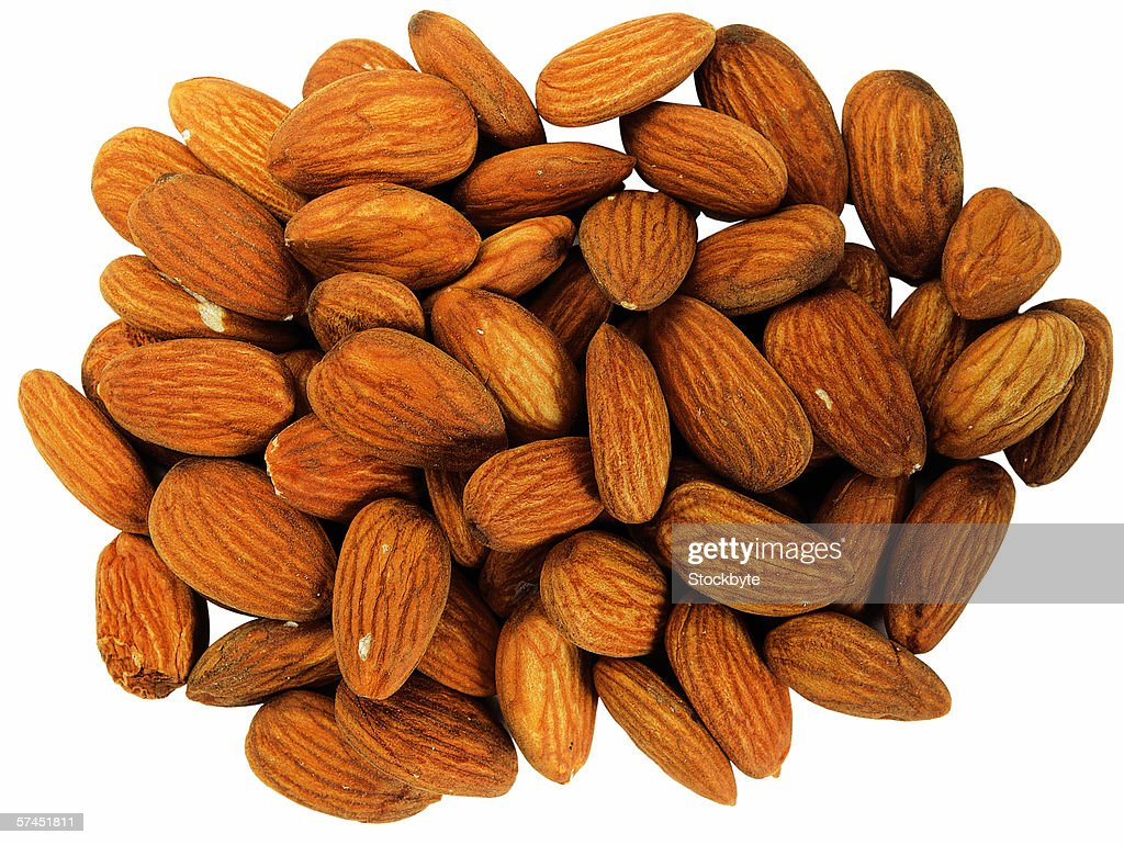 close-up of unpeeled almonds : Stock Photo
