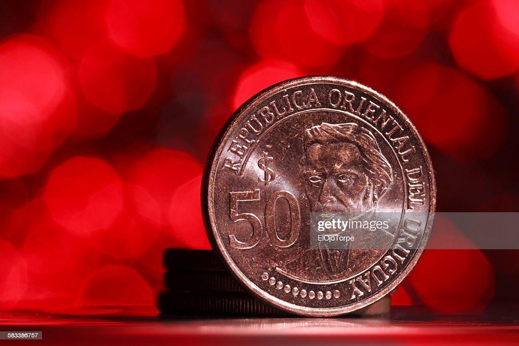 Close-up of uruguayan coin, bokeh background : Stock Photo