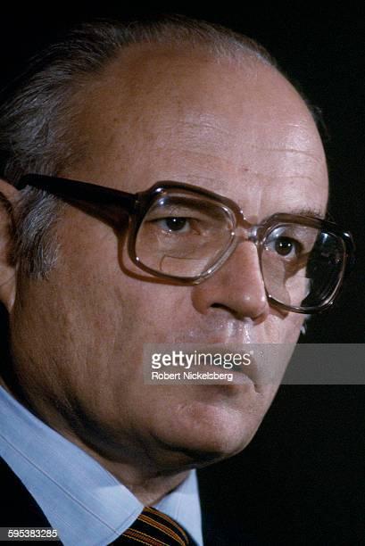 Closeup of US Ambassador to El Salvador Deane R Hinton as he speaks during a press conference at the US Embassy San Salvador El Salvador May 1 1983