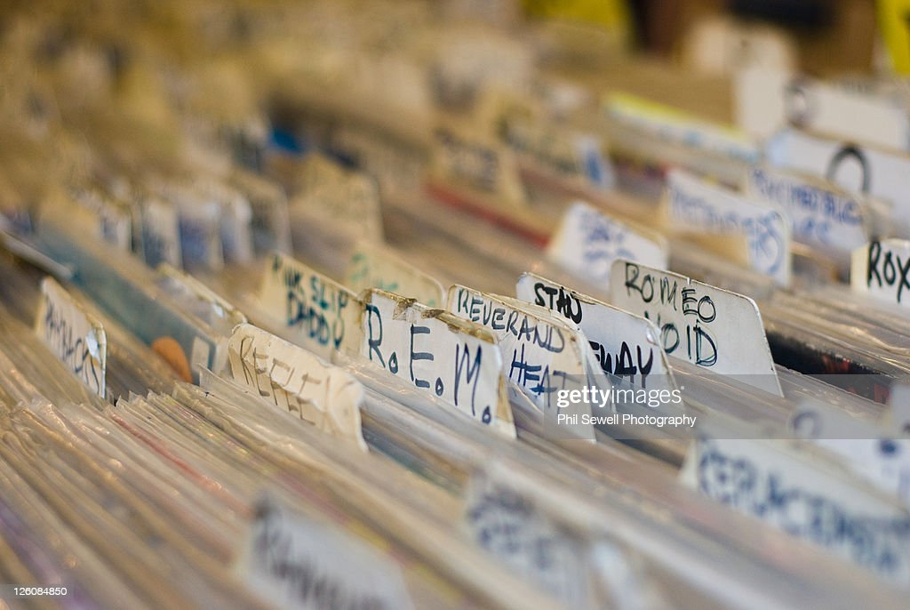 Closeup of used, rare and and unique record albums : Stock Photo