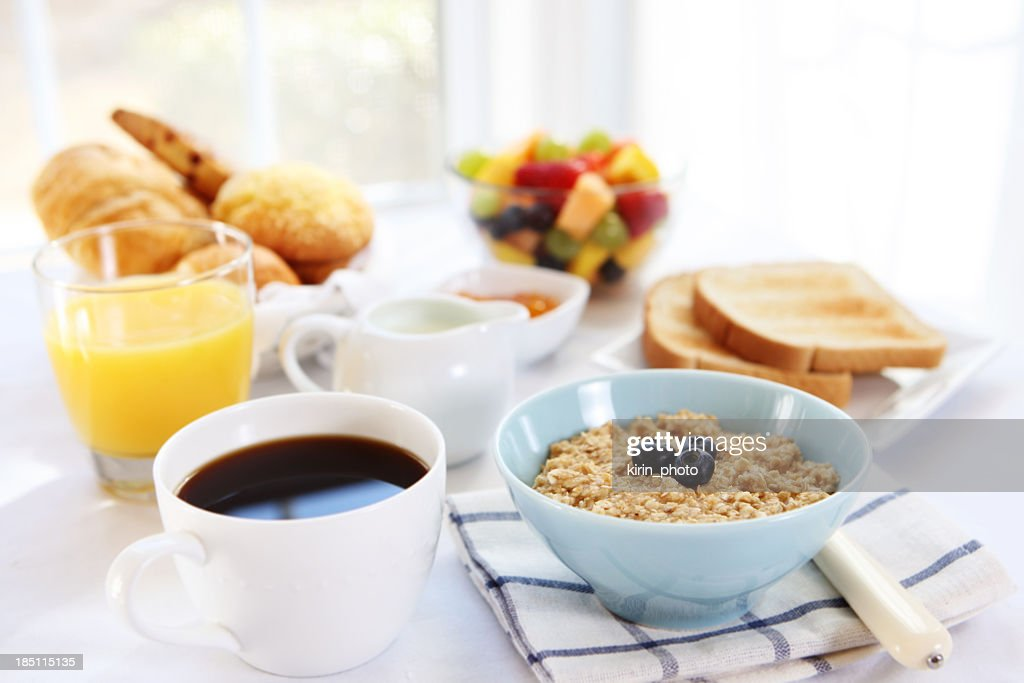 Close-up of variety of breakfast selections : Stock Photo