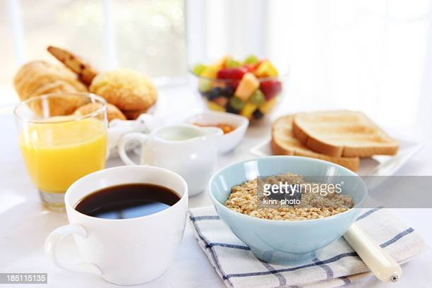 Close-up of variety of breakfast selections
