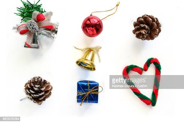 close-up of various christmas decorations over white background8 - candy cane stock pictures, royalty-free photos & images