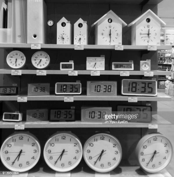 Close-Up Of Various Clocks For Sale In Store