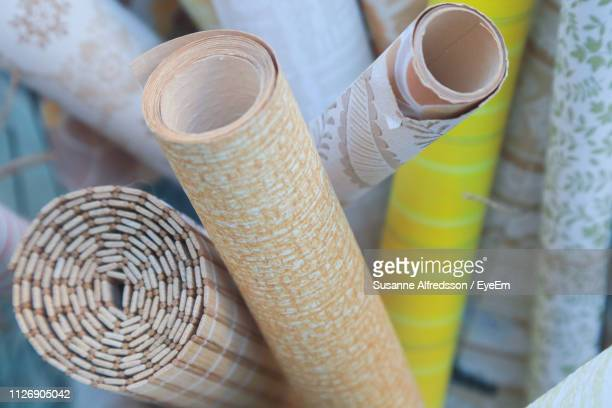 close-up of various craft papers displayed for sale - wallpaper roll stock pictures, royalty-free photos & images