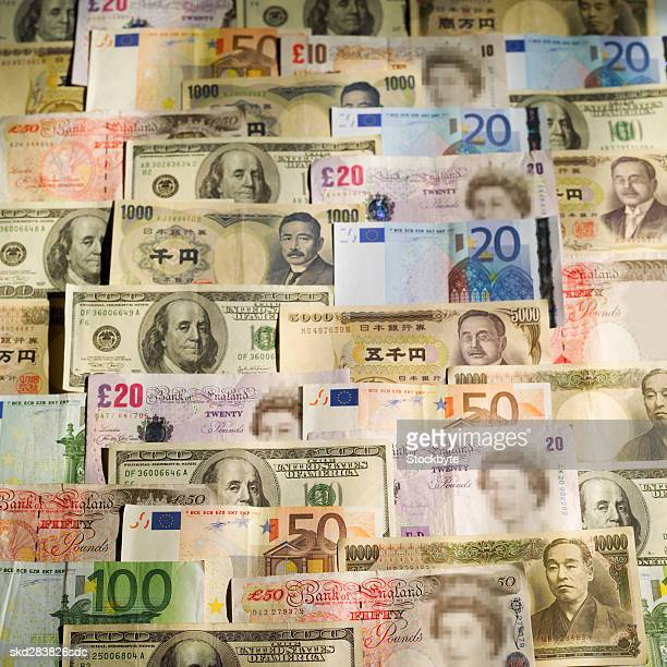 Close-up of various currency bank notes