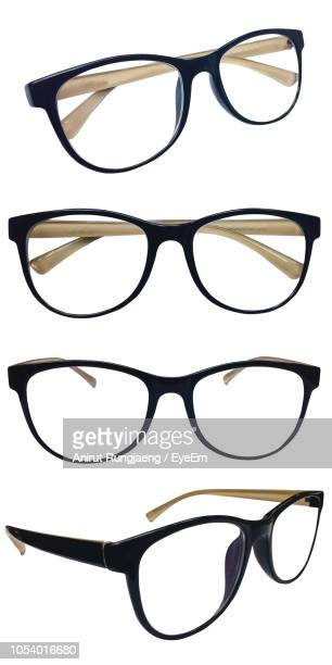 close-up of various eyeglasses against white background - eyewear stock pictures, royalty-free photos & images