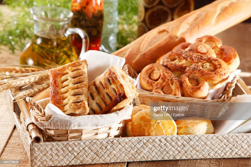 Close-Up Of Various Fresh Baked Breads In Basket : Stock Photo