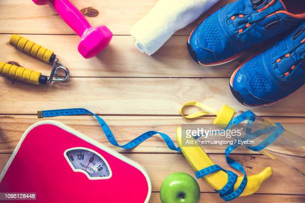 close-up of various objects on table - sports equipment stock pictures, royalty-free photos & images