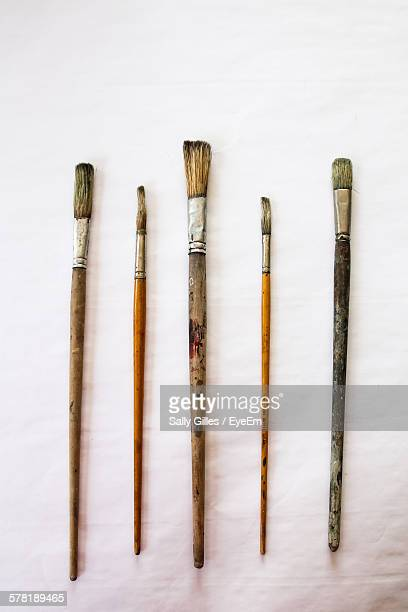 close-up of various paint brushes on white background - paintbrush stock pictures, royalty-free photos & images