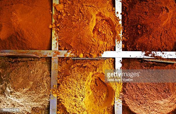 Close-Up Of Various Spices In Market