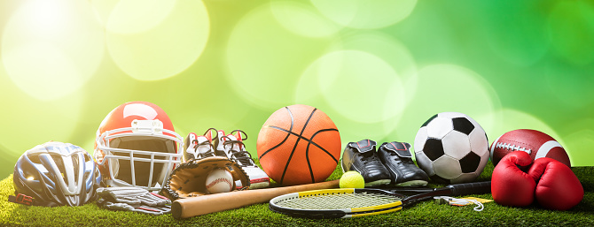 Close-up Of Various Sport Equipments On Pitch 949190696