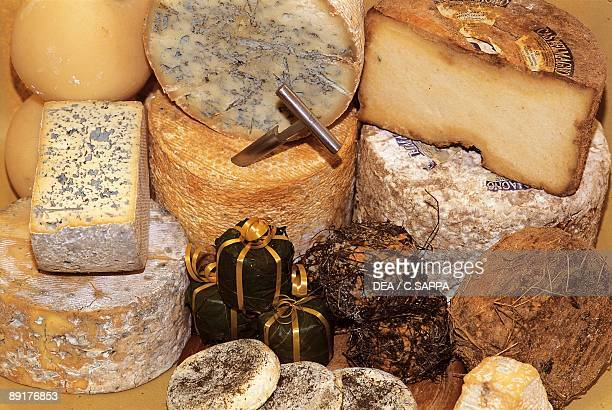 Closeup of various types of cheese