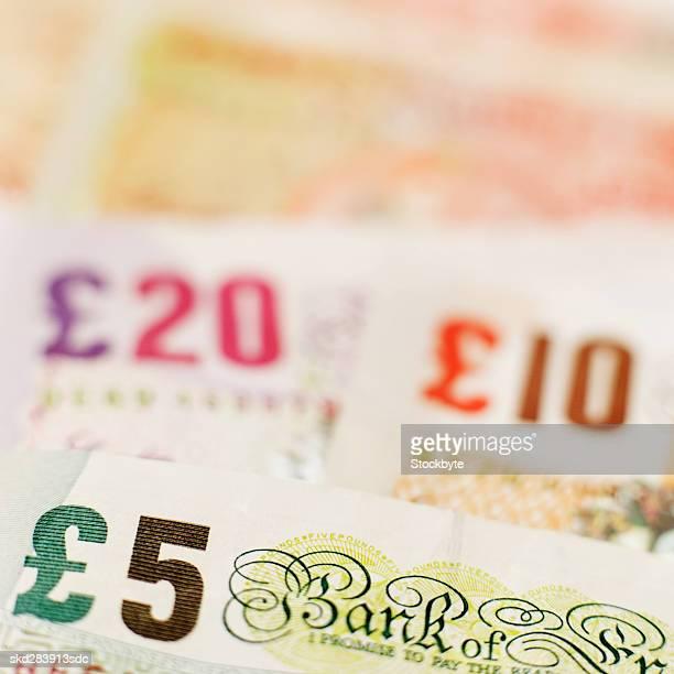 Close-up of various U.K.. pound notes