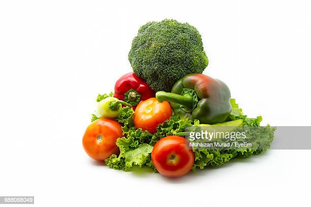close-up of various vegetables on white background - vegetable stock pictures, royalty-free photos & images