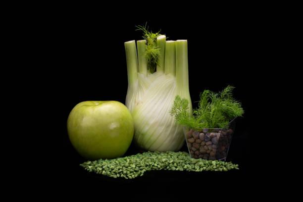 Close-up of vegetables against black background