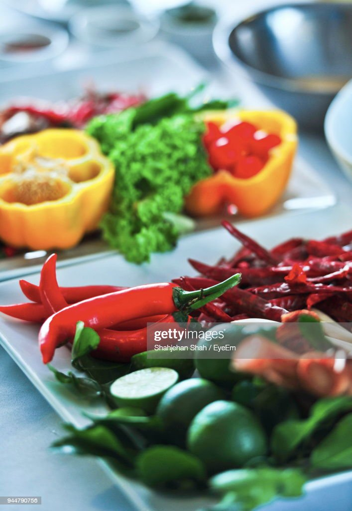 Close-Up Of Vegetables In Plate On Table : Stock Photo