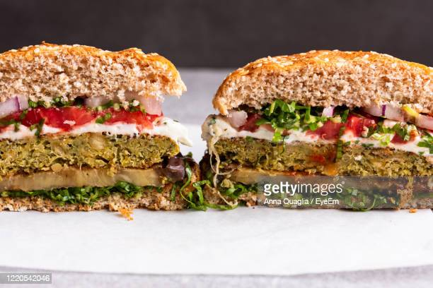 close-up of  vegetarian burgers in plate - veggie burgers stock pictures, royalty-free photos & images