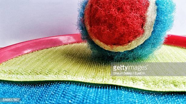close-up of velcro tennis ball on door mat - nylon fastening tape stock photos and pictures