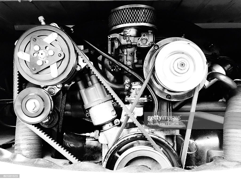 Close-Up Of Vintage Car Engine : Stock Photo