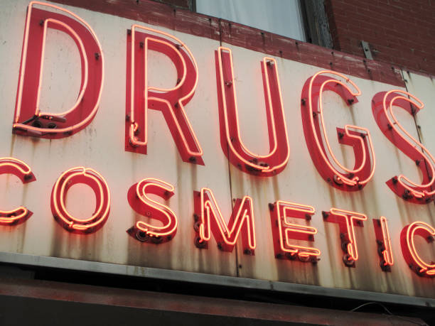 Closeup of Vintage Drugstore Cosmetics Sign in the East Village in Manhattan, New York City