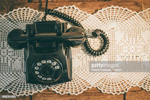 Close-Up Of Vintage Landline Phone On Table