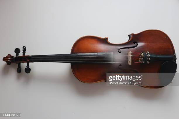 close-up of violin against white background - stringed instrument stock pictures, royalty-free photos & images