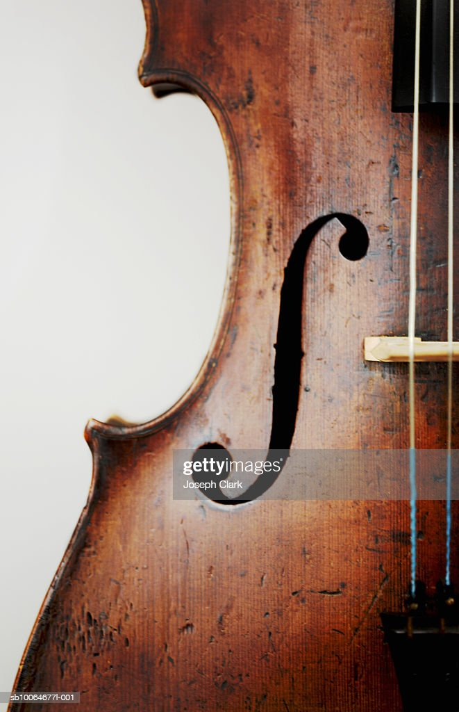 Close-up of violin, studio shot : Foto de stock