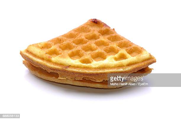 Close-Up Of Waffle On White Background