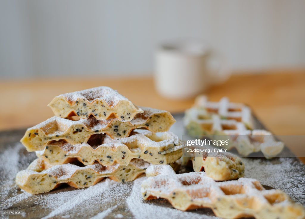 Close-Up Of Waffles On Table : Stock Photo