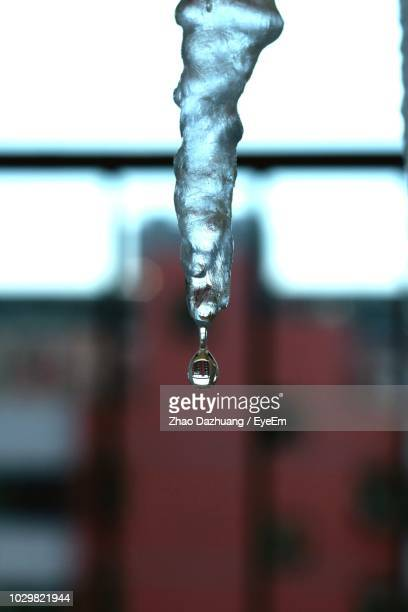 Close-Up Of Water Dripping From Icicle
