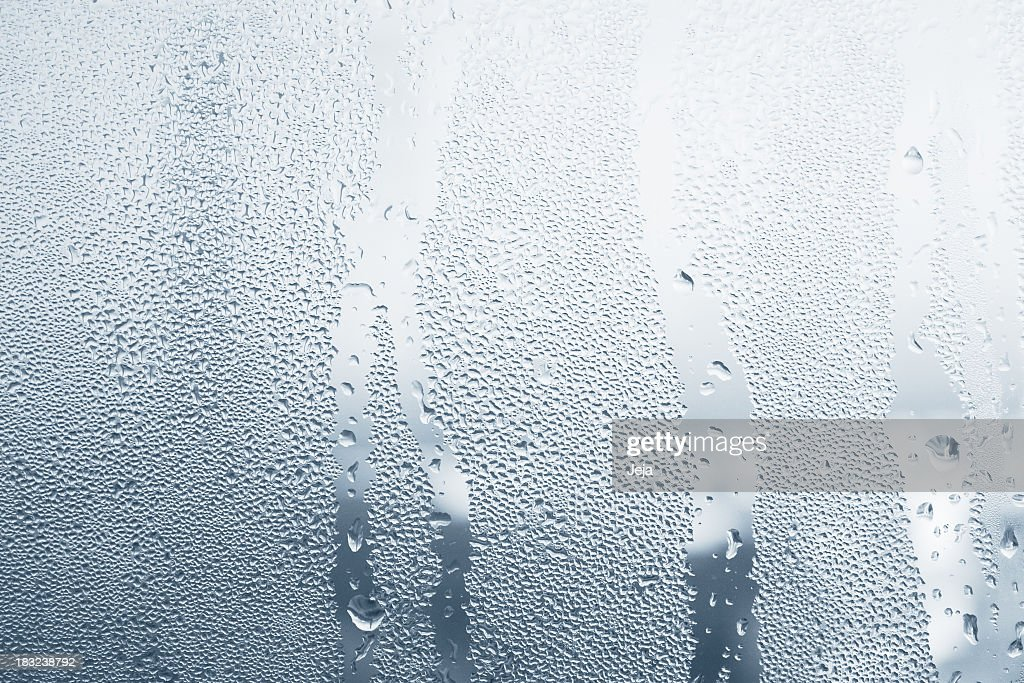 Close-up of water drops on a window : Stock Photo