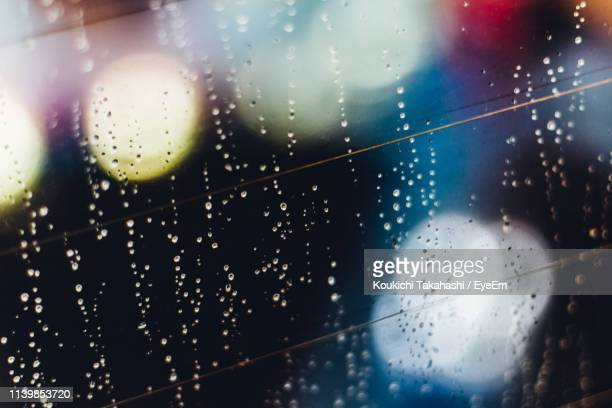 Close-Up Of Water Drops On Wet Glass