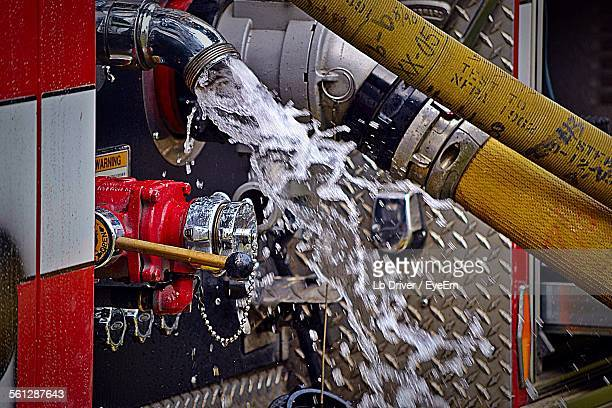 Close-Up Of Water Flowing From Fire Truck