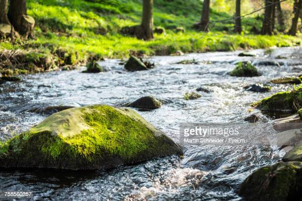 close-up of water flowing through rocks - rivier stockfoto's en -beelden