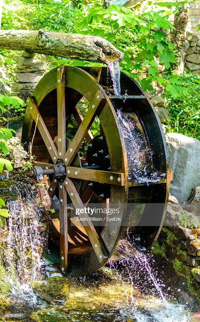 Closeup Of Water Wheel In Rock City Garden Stock Photo