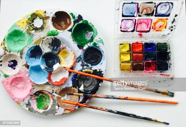 Close-up of watercolor paints and palette