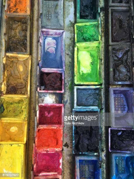 Close-up of watercolor paints palette