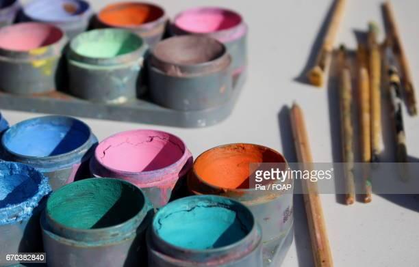 Close-up of watercolors