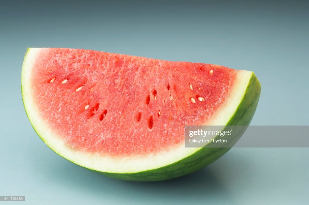 Close-Up Of Watermelon Against Gray Background : Stock Photo