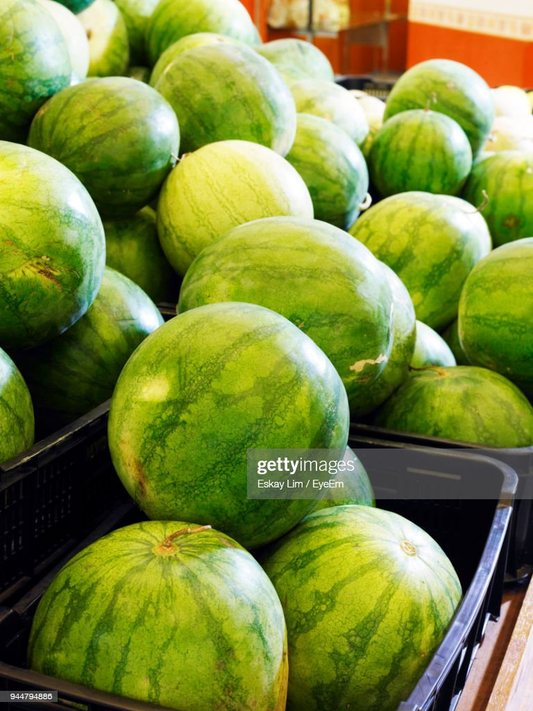 Close-Up Of Watermelon For Sale : Stock Photo