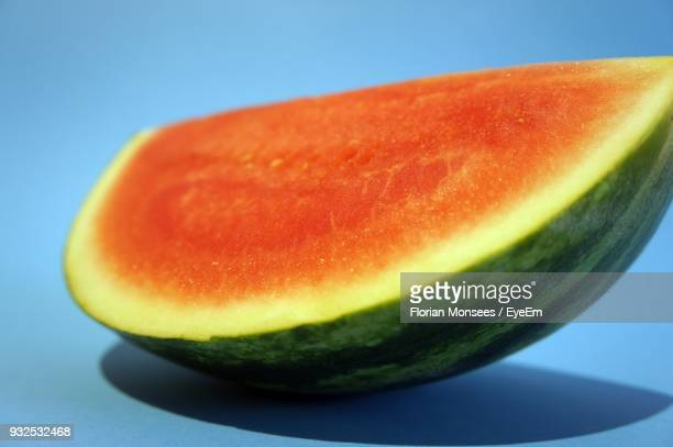 Close-Up Of Watermelon On Blue Background