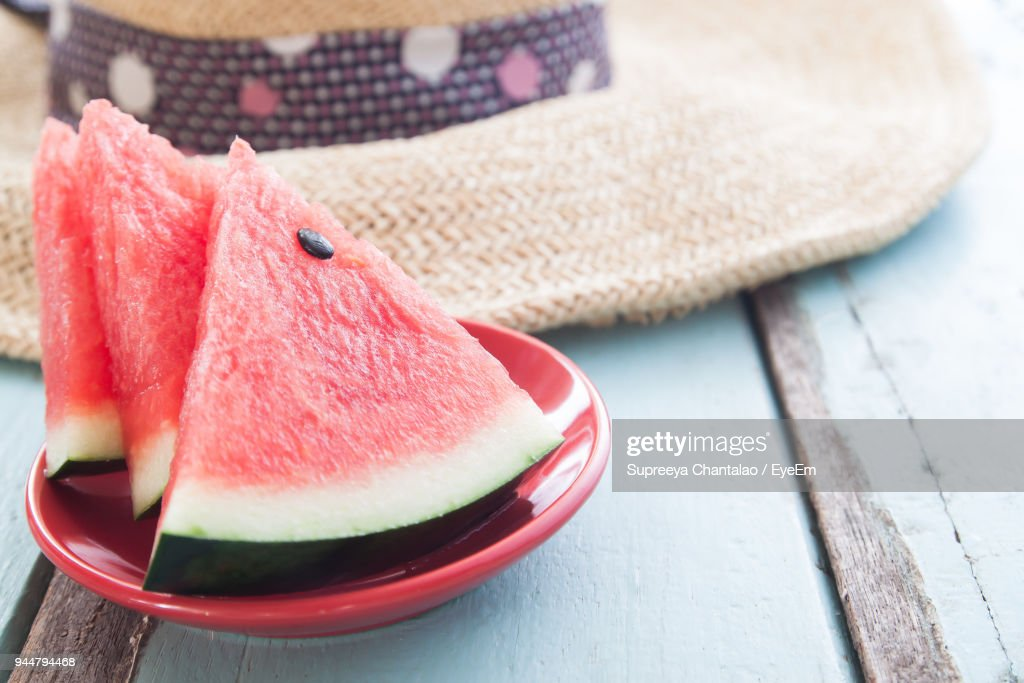 Close-Up Of Watermelon Slices On Table : Stock Photo