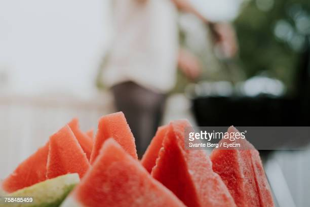 Close-Up Of Watermelon Slices Outdoors