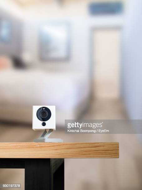 close-up of webcam on table - webcam stock photos and pictures