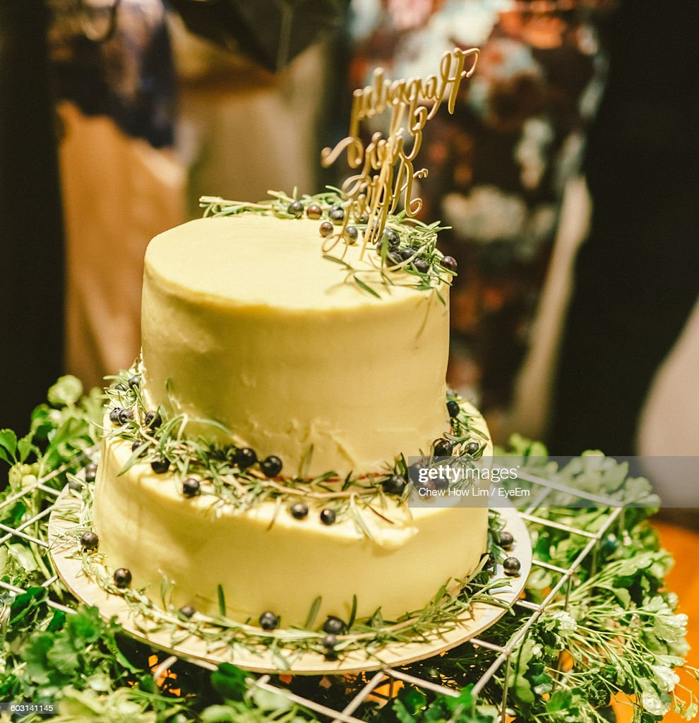 Closeup Of Wedding Cake On Table Stock Photo | Getty Images
